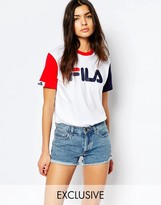 Fila Basic T-Shirt With Logo Detail & Color Block