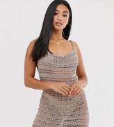 Asos DESIGN Petite metallic cowl neck mini dress