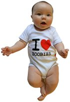 Silly Souls I Love Boobies Fun Print Cool Baby Onesie - Made of 100% Cotton - 6-12 Months