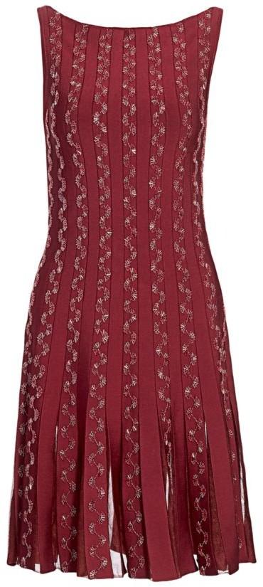 Zac Posen Radiant Stripe Beaded Boatneck Knit Dress