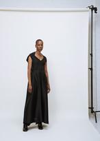 Issey Miyake black slant pleats tie dress