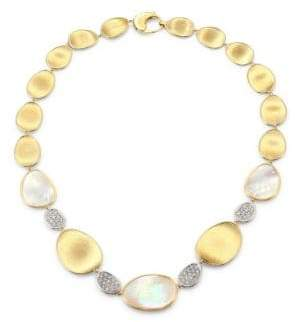 Marco Bicego Lunaria White Mother-of-Pearl& Diamond Pave Station Necklace