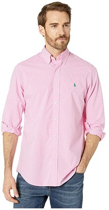 Polo Ralph Lauren Classic Fit Plaid Poplin Shirt (Pink/White) Men's Clothing