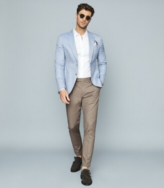 Reiss Lock - Herringbone Slim-fit Blazer in Soft Blue