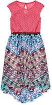 Speechless Multi Aztec Lace Chiffon High-Low-Hem Dress - Girls 7-16