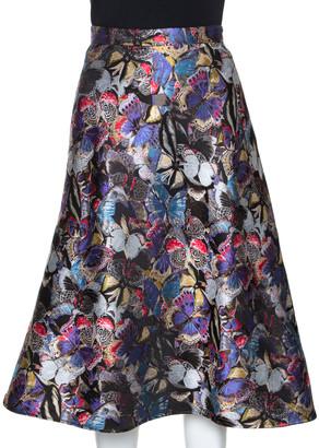 Valentino Multicolor Butterfly Silk Brocade Midi Skirt M