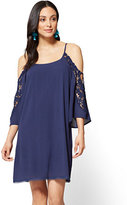 New York & Co. Crochet-Trim Cold-Shoulder Dress