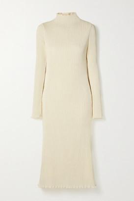 DANIELLE FRANKEL Adrienne Open-back Plisse Stretch-satin Midi Dress - Off-white