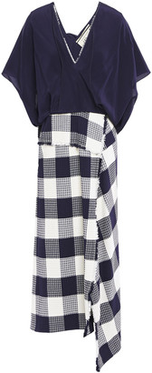 Roland Mouret Kenna Crepe De Chine And Checked Cotton-blend Boucle-jacquard Midi Dress