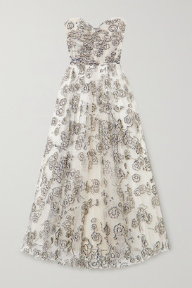 Monique Lhuillier Strapless Glittered Tulle Gown - White