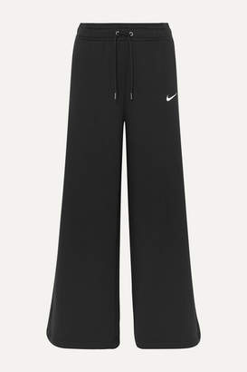 Nike Cotton-blend Jersey Wide-leg Track Pants - Black