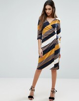 Traffic People 3/4 Wrap Dress In Stripe Print
