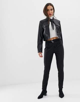Pieces stripe trouser with d ring belt-Black