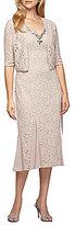 Alex Evenings Lace Tea-Length 2-Piece Jacket Dress