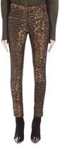 Haider Ackermann Silk Blend Geometric Jacquard & Leather Pants