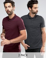Asos 2 Pack Polo Shirt With Tipped Collar In Pique In Red/Gray