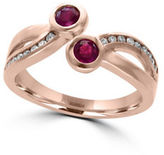 Effy Amore Diamonds, Ruby and 14K Rose Gold Bypass Ring