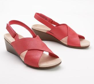 Vionic Back-Strap Wedge Sandals - McKenna Metallic