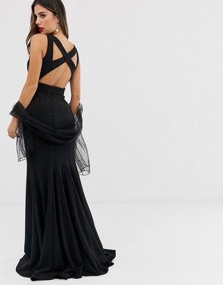 Jovani maxi dress with cut out detail-Black