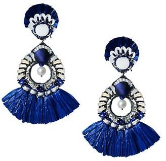 Ranjana Khan Bead & 1-2MM Pearl Raffia Tassel Clip-On Drop Earrings