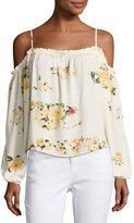 Romeo & Juliet Couture Floral-Print Cold-Shoulder Blouse, Cream