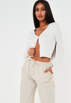 Missguided White Skinny Rib Cardigan