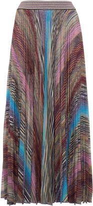 Missoni Metallic-Striped Pleated Lame Midi Skirt