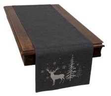 Manor Luxe Deer In Snowing Forest Double Layer Christmas Table Runner