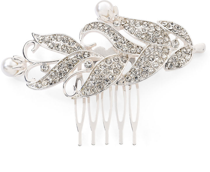 JCPenney Vieste Crystal and Simulated Pearl Comb