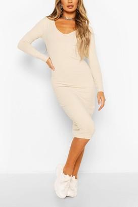 boohoo Long Sleeve V Neck Bodycon Dress