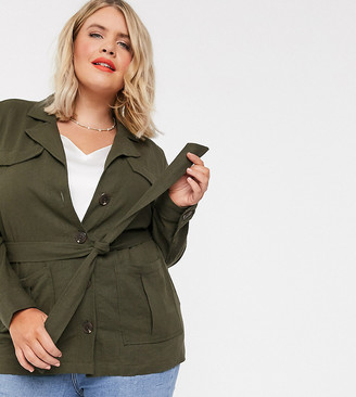 Simply Be belted utility jacket in khaki