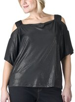 Plus Young Contemporary Cold Shoulder Top - Ebony Glitter