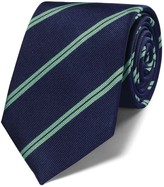 Charles Tyrwhitt Navy and green silk classic double stripe tie
