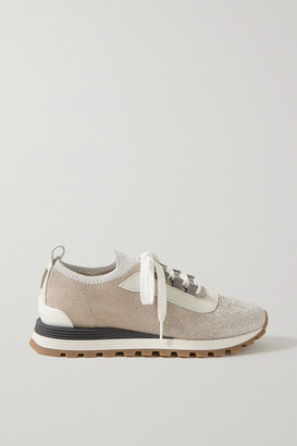 Brunello Cucinelli Bead-embellished Metallic Stretch-knit, Suede And Leather Sneakers - Taupe