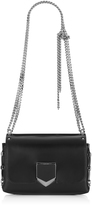 Jimmy Choo LOCKETT PETITE Black and Gold Spazzolato Leather Shoulder Bag