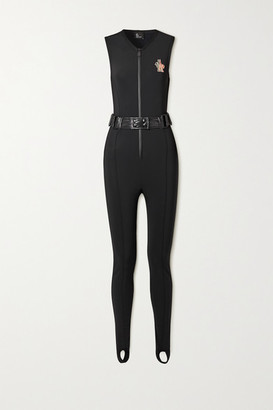 MONCLER GRENOBLE Shell-trimmed Belted Neoprene Ski Suit - Black