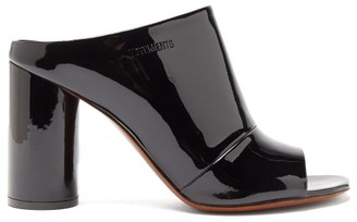 Vetements Logo-debossed Patent-leather Mules - Black