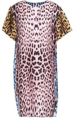 Roberto Cavalli Leopard-print Silk-twill Mini Dress