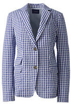 Lands' End Women's Gingham Blazer-White
