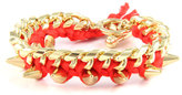 Ettika Thread Bracelet on Link Chain in Red