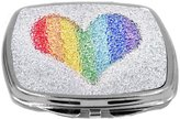 Rikki Knight Compact Mirror, Rainbow Heart