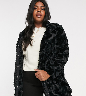 Vero Moda Curve faux fur jacket-Black