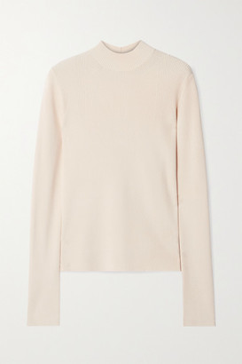 Helmut Lang Cutout Ribbed-knit Top - Beige