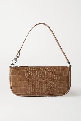 BY FAR Rachel Croc-effect Leather Shoulder Bag - Taupe