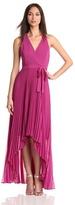 Max & Cleo Women's Hi Low Pleated Chiffon Dress