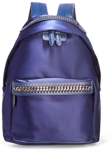 Stella McCartney The Falabella Go Faux Leather-trimmed Satin Backpack - Indigo