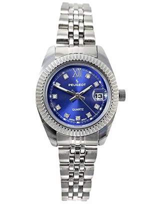 Peugeot Women's Fluted Bezel Status Luxury Steel Bracelet Watch with Date Window