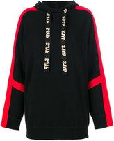 Sjyp contrast logo hoodie