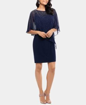 Xscape Evenings Studded Chiffon-Overlay Dress