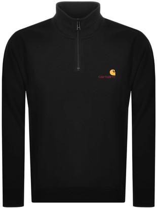 Carhartt Half Zip Script Logo Sweatshirt Black